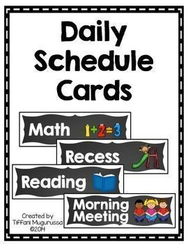 Create a class picture schedule with these schedule cards.  There are 64 different cards to choose from.  Please see the preview for a sample of the cards included.Copyright  Tiffani Mugurussa Time4Kindergarten.comLike Time4kindergarten on FacebookFollow