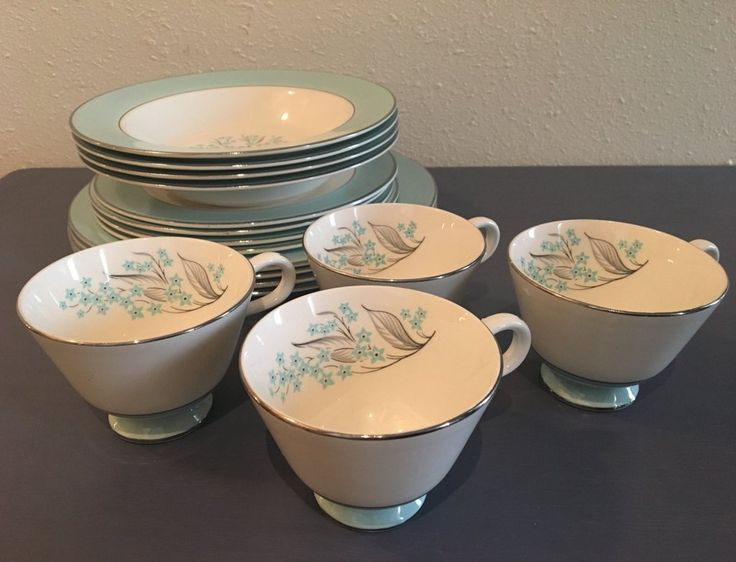 Sweet set of Sevron Blue Lace china- 4 each blue and white floral with silver rims cups / bowls / small & large plates!