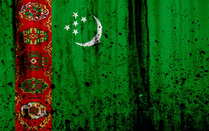 Download wallpapers Turkmen flag, 4k, grunge, flag of Turkmenistan, Asia, Turkmenistan, national symbols, Turkmenistan national flag