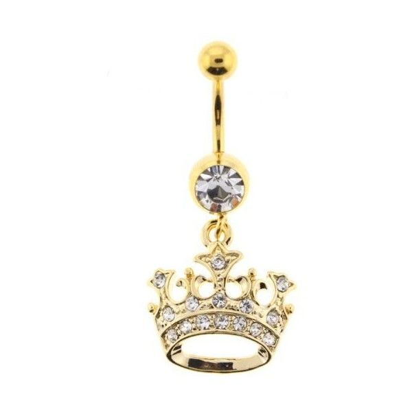 "Gold Plated Dangling Crown Belly Ring with Crystals 14G, 3/8"" Bar... ($18) ❤ liked on Polyvore"