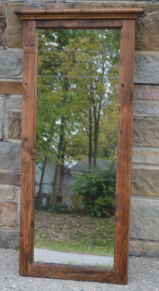 "45"" FARMHOUSE WALL MIRROR HANDCRAFTED w/150 YR OLD MAPLE BARNWOOD  #JH 13 #NaivePrimitive"