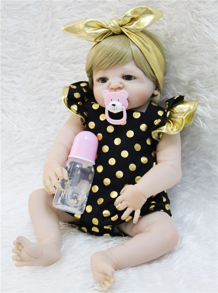 "84.98$  Know more - http://aixp0.worlditems.win/all/product.php?id=32803549221 - ""Full body Silicone dolls reborn 22""""55cm realistic newborn baby girl dolls can enter water bebe alive reborn bonecas de silicone """