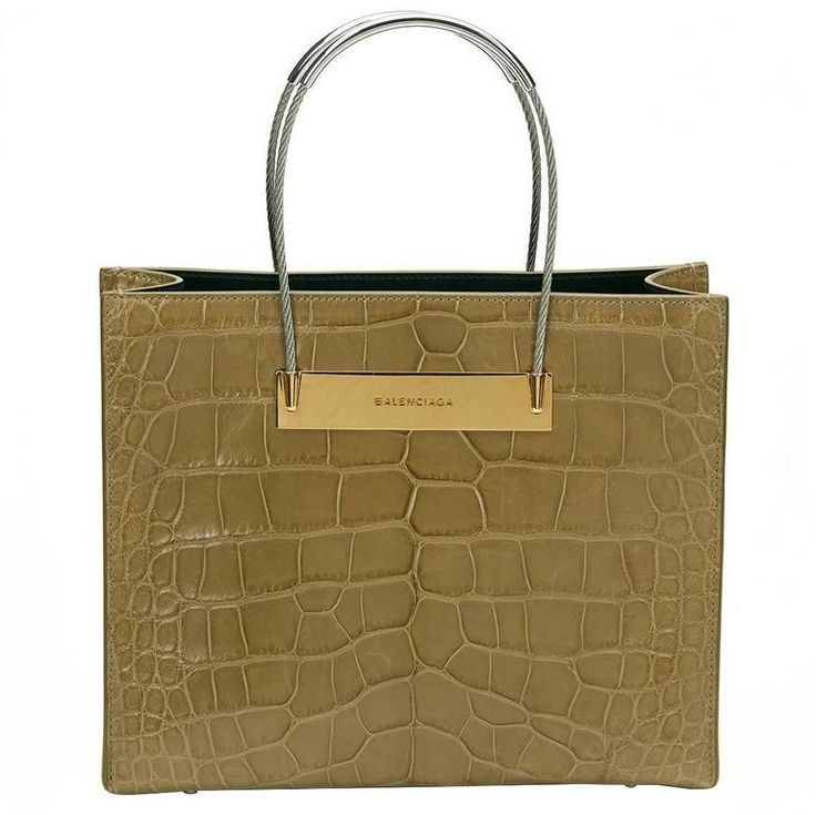 2010s Balenciaga Olive Green Alligator Leather Small Cable Shopper | From a collection of rare vintage tote bags at https://www.1stdibs.com/fashion/handbags-purses-bags/tote-bags/