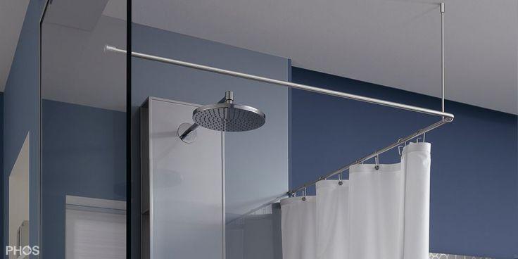 Duschvorhangstange Edelstahl, L-förmige Ecklösung mit einseitiger Befestigung an Glaswand. DSE900