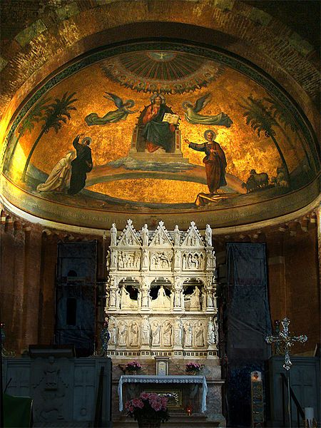 Pavia - Church of S. Pietro in Ciel d'Oro (8th century/rebuilt in 12th century CE) - the apse and the marble ark of Saint Augustine (14th century), which keeps the bones of the saint.