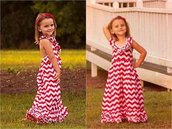 POPULAR Toddler Maxi Dress - Girls Chevron Dress - Little Girls Dresses