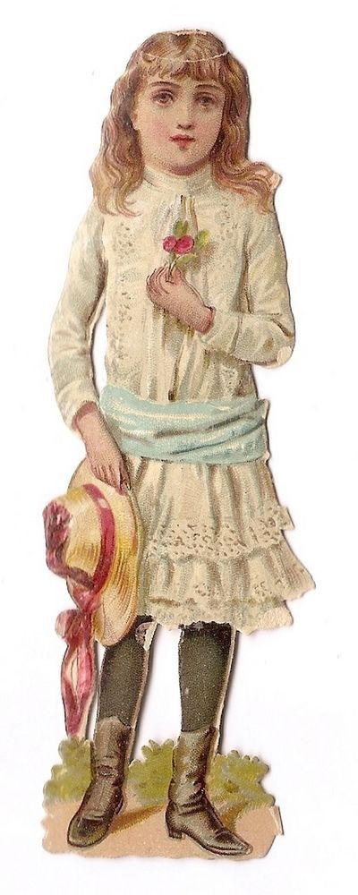 Jeune fille - Chapeau Roses fleurs - Chromo Decoupi  Victorian Scrap  Oblaten:
