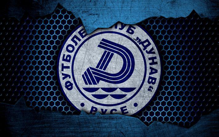 Download wallpapers Dunav Ruse, 4k, logo, Parva Liga, soccer, football club, Bulgaria, grunge, metal texture, Dunav Ruse FC