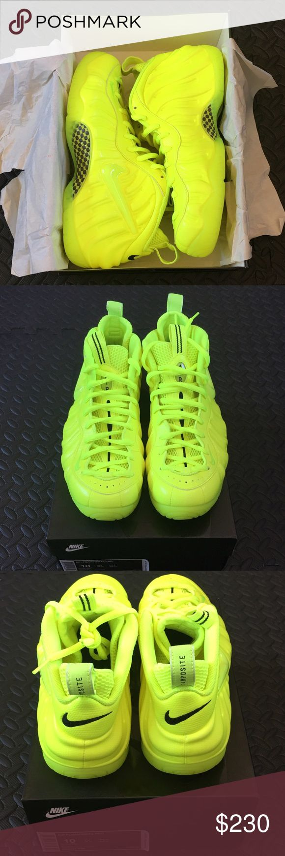 Nike Air Foamposite Pro | Volt Yellow Nike Air Foamposite Pro - Volt/Volt-Black Colorway - New with Tags - Comes with Original Box Nike Shoes Sneakers