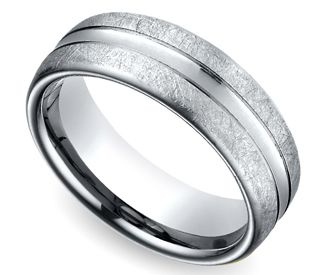 Convex Swirl Men's Wedding Ring in White Gold
