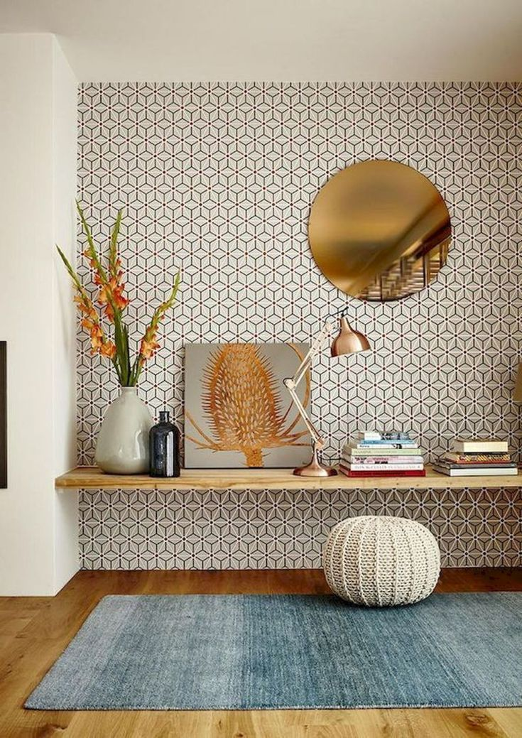 Loving The Accent Wall Of Wallpaper Living Room Scandinavian Interior Scandinavian Interior Design