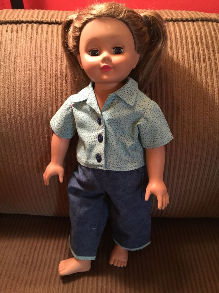"""American Girl Doll Clothes   Fits All  18"""" Dolls, Blue Print Blouse & Denim Capri Pants by CreativeCreationsDeb on Etsy"""