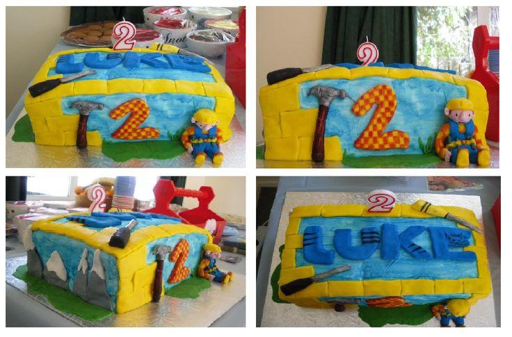 Bob the builder cake, my first ever theme cake and first time using Fondant #bobthebuilder #cake