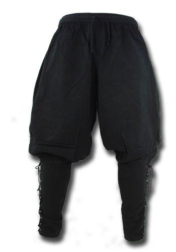 Wikingerhose, schwarz Durch die Schnürung am Bund ist die Wikingerhose variabel in der Weite und sehr angenehm zu tragen. Die eng geschnittenen, geschnürten Waden sorgen für den Pluder-Look an den Oberschenkeln und die Wikingerhose...
