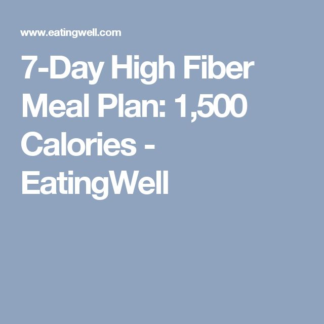 7-Day High Fiber Meal Plan: 1,500 Calories - EatingWell