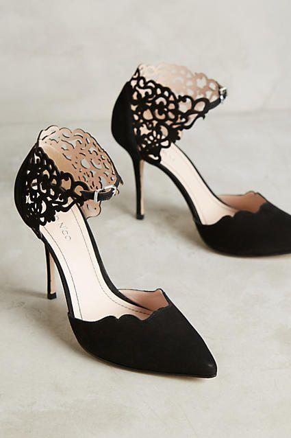 Black Roxanna Pumps with laser cutout lace detail www.utelier.com
