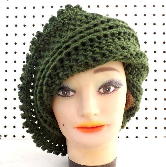 Olive Green Crochet Hat Womens Hat Steampunk Hat Picot Crochet Beanie Hat Dark…