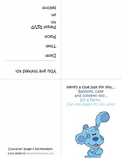 32 best Blues Clues Birthday Printables images – Blues Clues Birthday Card