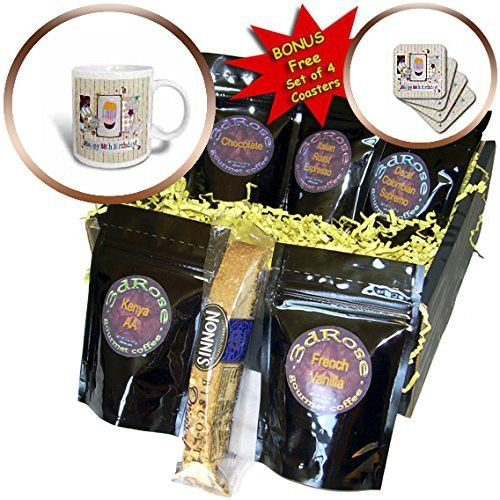 Beverly Turner Birthday Design - Collage of Stars, Cupcake, and Candle, Happy 88th Birthday - Coffee Gift Baskets - Coffee Gift Basket (cgb_243720_1)