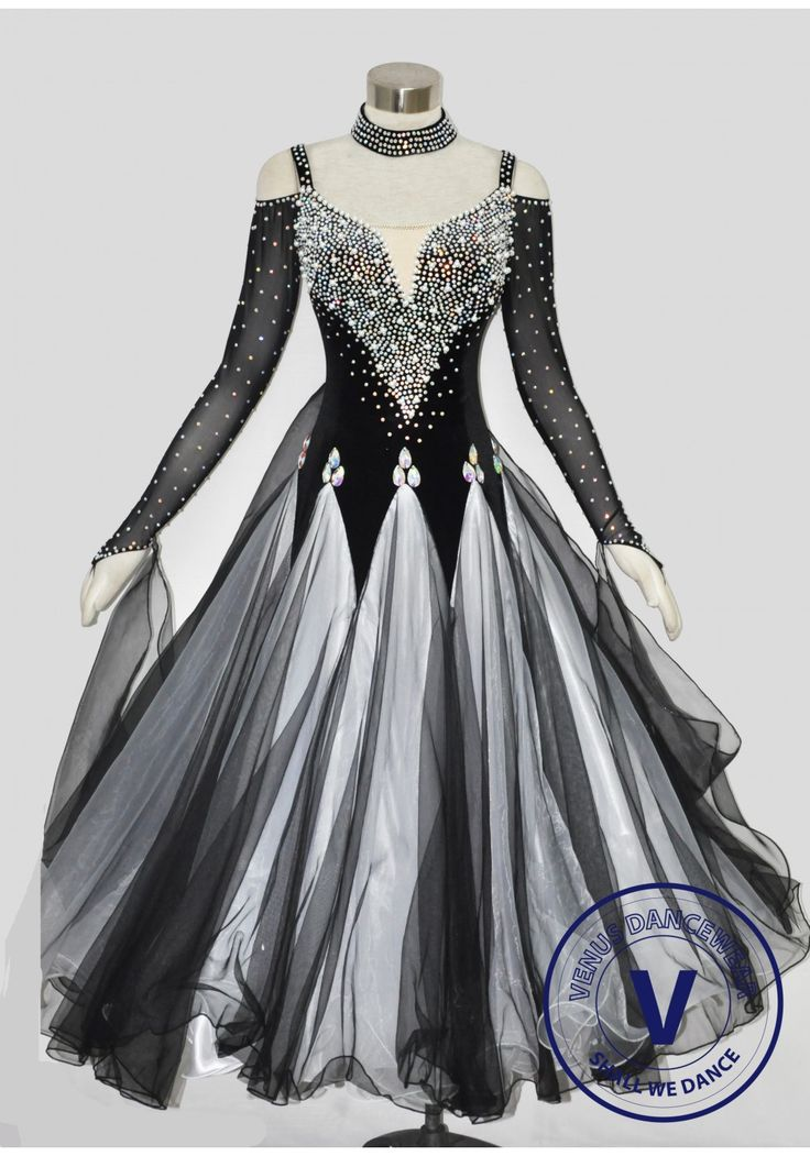 Black Velvet Pearl Elegant Women Ballroom tango waltz Quickstep standard Smooth Competition Gown