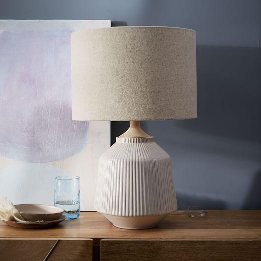 Roar + Rabbit Ripple Ceramic Table Lamp - Large (White) | west elm