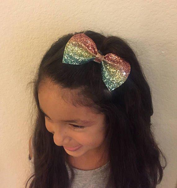 Rainbow Chunky Glitter Hair Bow