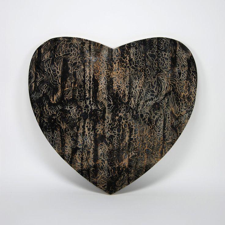 Shamans heart, 2014, woodcut, 50x54cm – Dennis Happé