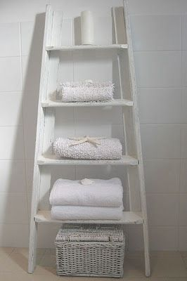 ladder shelves for the bathroom - would prefer it in a different color than white!