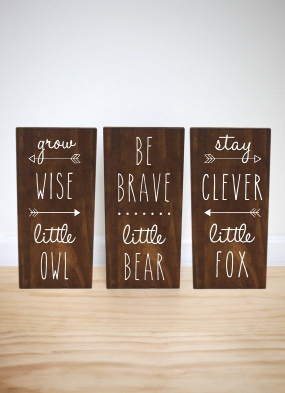 Woodland Animals Nursery Signs, Stay Clever Little Fox, Grow Wise Little Owl, Be Brave Little Bear