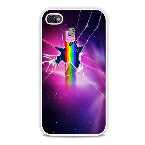 Buy Brand New Nyan Cat Galaxy Glass Broken Iphone 4/4S Cover at low prices and high Quality! This is a very special Unique case, clear image that is waterproof. A snap-fit case that provides protectio