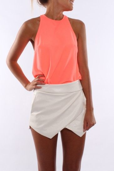 Lets Dance Pleather Skort White - Shorts - Shop by Product - Womens
