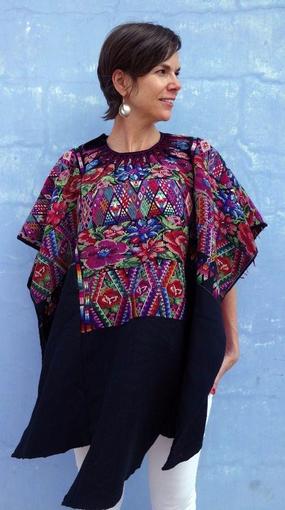 Maya Woman's Vintage Floral & Geometric Huipil from Chichicastenango, Guatemala