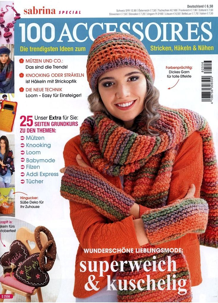 Sabrina Special S 2556 - 100 Accessoires 2018.   Wish I were multilingual  mags   Pinterest   Knitting magazine, Knitting and Crochet 81b305c36a8a