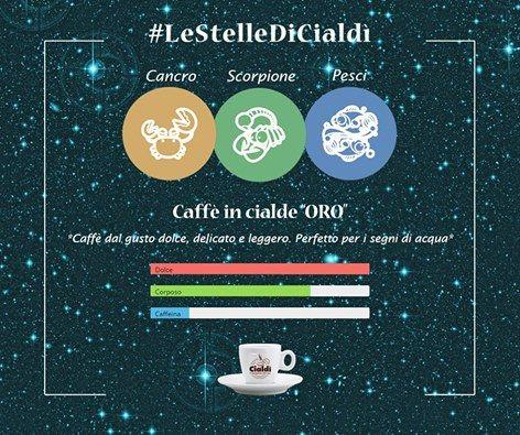 """Buongiorno con #LeStelleDiCialdì  I segni di acqua: Cancro, Scorpione, Pesci emozione, sentimento, intuizione e positività. Saranno felici nel gustare il Caffè in cialde """"ORO"""" dal gusto dolce, delicato e leggero.  www.cialdi.it  #cialdi   #oroscopo #Coffee #CoffeeTime #Espresso #Caffeine #Cafe #CoffeeShop #Keurig #Latte #CoffeeAddict #Brew #LatteArt #Drink #Morningcoffee #CoffeeMaker #Cappuccino #Mug #Barista #Caffè #GoodMorning #CoffeeBeans #friendlylocalguides #coffeetravel…"""