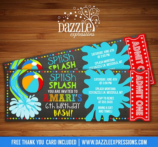 Printable Pool Party Chalkboard Birthday Invitation | Water Park Invite | Beach Ball Invite | Pool Ticket Invite | Waterpark | Swimming | Splash | Water Slide | Summer Water Party | FREE thank you card included | Printable Matching Party Package Decorations Available! Banner | Signs | Labels | Favor Tags | Water Bottle Labels and more! www.dazzleexpressions.com