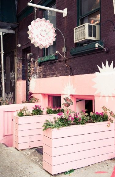 Inside New York City's Pietro Lolita Restaurant: All pink decor with potted plants | coveteur.com