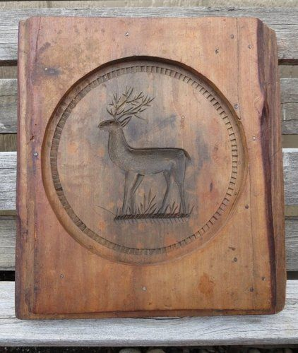 LARGE Antique Springerle Cookie Mold Two Sided Stag & Crest of Austria c.1880