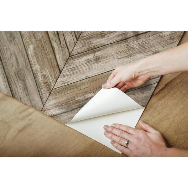 Roommates Herringbone Wood Boards Brown Vinyl Peelable Roll Covers 28 18 Sq Ft Rmk11455wp The Home Depot In 2021 Peel And Stick Wallpaper Herringbone Wood Herringbone Wall