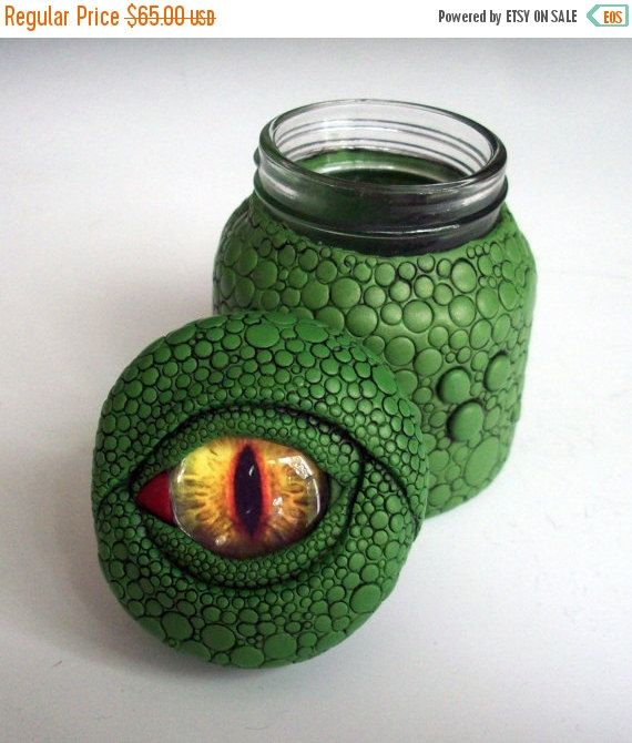 Super Summer Savings Dragon Eye Jar/ Vase Polymer Clay over Glass