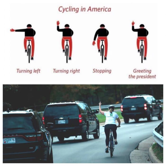 We love our bike commuters here in the PNW...just a little info for those who don't have the pleasure of understanding cycling sign language.  Shakes + Speares    Crafted in the Pacific Northwest    Handcrafted Products    www.shakesandspeares.com www.shakesandspeares.etsy.com (original post) hahahah nicee