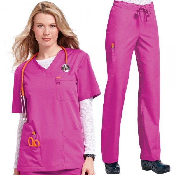 Orange Standard Unisex Set in Fierce Fuchsia. The Orange Standard Unisex Scrub Set is a combination of our unisex Balboa scrub top and the Huntington scrub trousers. This scrub set or scrub suit is perfect if you need to kit our your hospital department or practice in the same uniforms for both men and women. £33.99  #nursescrubs #dentistscrubs #nurses #dentists #pinkscrubs #nurseuniform