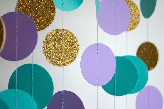 Paper Garland in Lavender Teal and Gold by TheLittleThingsEV