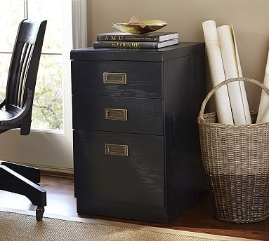 Reynolds 3 Drawer File Cabinet W/Single Top, Artisanal Black Stain