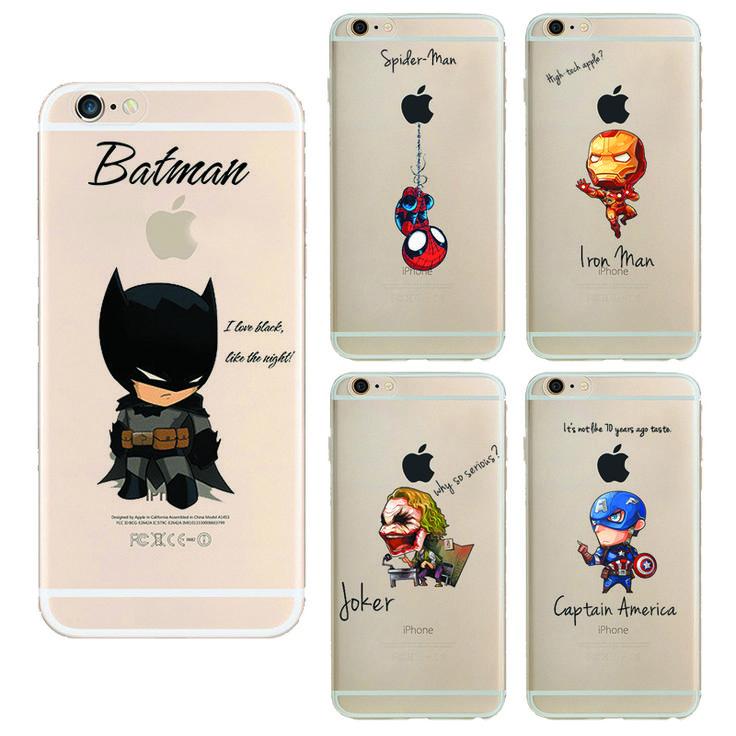 Cartoon Raytheon Batman Weichen Tpu Rückseitige Abdeckung Telefonkasten Für Apple Iphone 6 6 s iron Man Captain America Spider-Man Silikon Coque