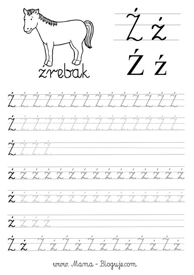 SZABLONY DO NAUKI PISANIA - 🇵🇱 POLSKIE LITERKI - ź - Język polski - Polskie literki - szablony do nauki pisania dla dzieci