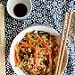 Riz frit aux légumes et au tofu {vegan- sans gluten} - Ingrédients : 1 petite courgette, 1 carotte, 1/2 navet long, 100 de riz, 100 g de tofu fumé...