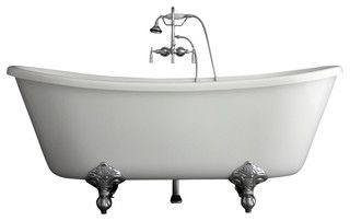 Brand to get for clawfoot tub   Manufactured by: Baths of Distinction   Sold By Baths of Distinction Inc.   http://www.houzz.com/photos/5531774/Hotel-Collection-Bateau-Double-Slipper-Clawfoot-Bathtub-Faucet-Package-traditional-bathtubs-