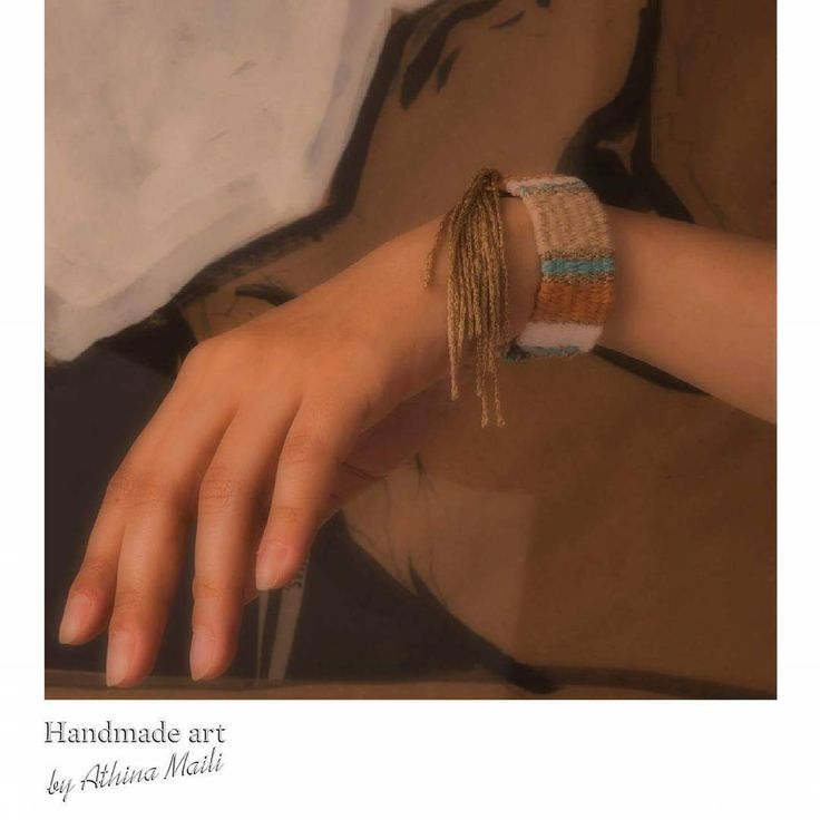 Handwoven jewelry. Woven bracelet with fringes.