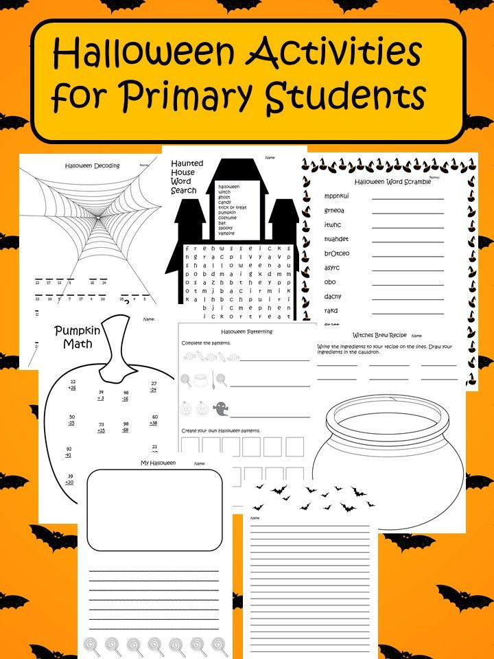 Fun Halloween printables including decoding to uncover a Halloween joke, word scramble, word search, patterning, addition and subtraction, witches brew, writing, and teacher answers!