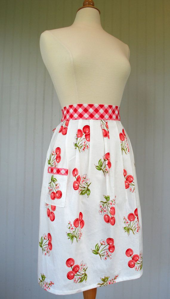 Half Apron With Pocket Red Pink Cherries Gingham by RedCheckMarket, $32.00